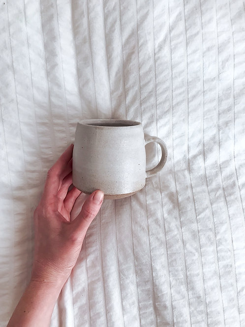 Satin White Mug with Black Stoneware