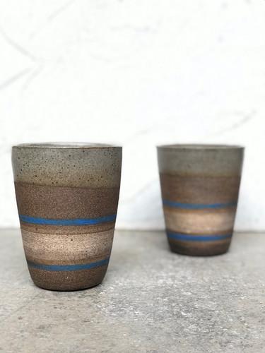 Set Of Dark Stoneware Cups
