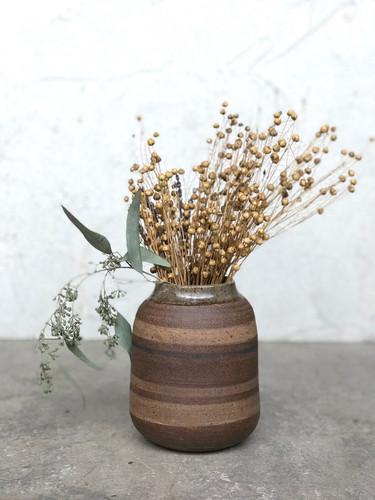 Striped Dark Stoneware Vase