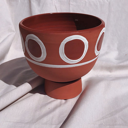 Elevated Terra Cotta White Circle Planter