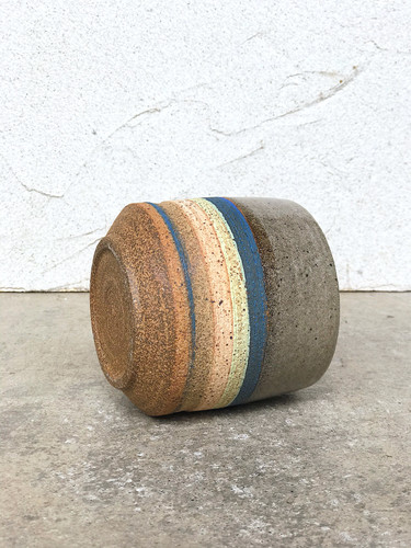 Striped Red Stoneware Cup