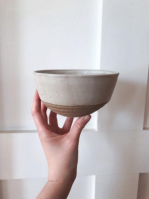White Satin Bowl with Black Stoneware