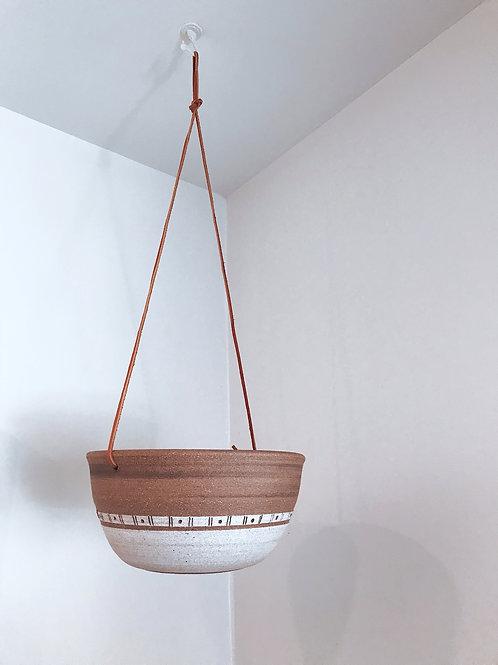 Two Toned Stoneware Hanging Planter