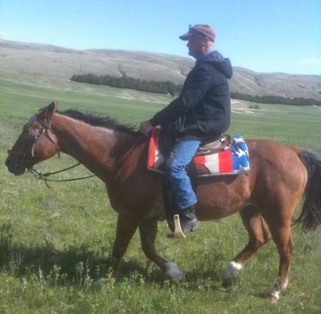 Dad riding Annie