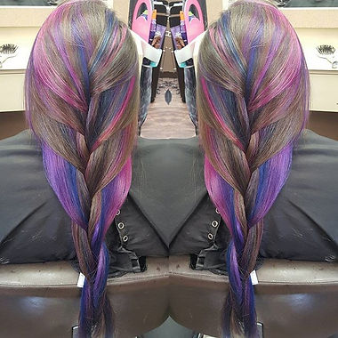 Final product! Went from just purple to purple blue and pink! Love doing this girls color it's alway