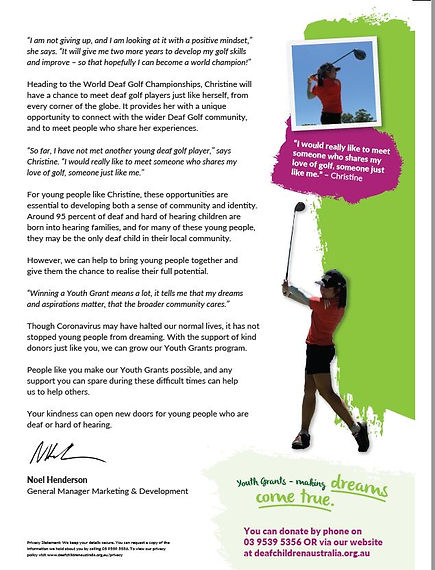 Second Page of Deaf Children Australia's Autumn Appeal