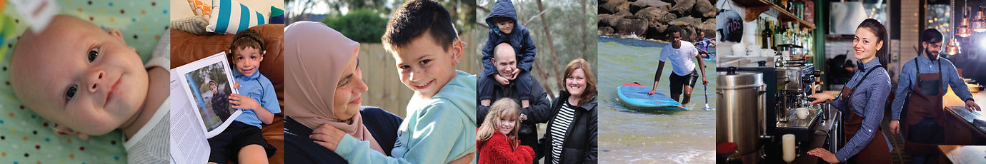 Banner Image for Deaf Children Australia, with several images of families