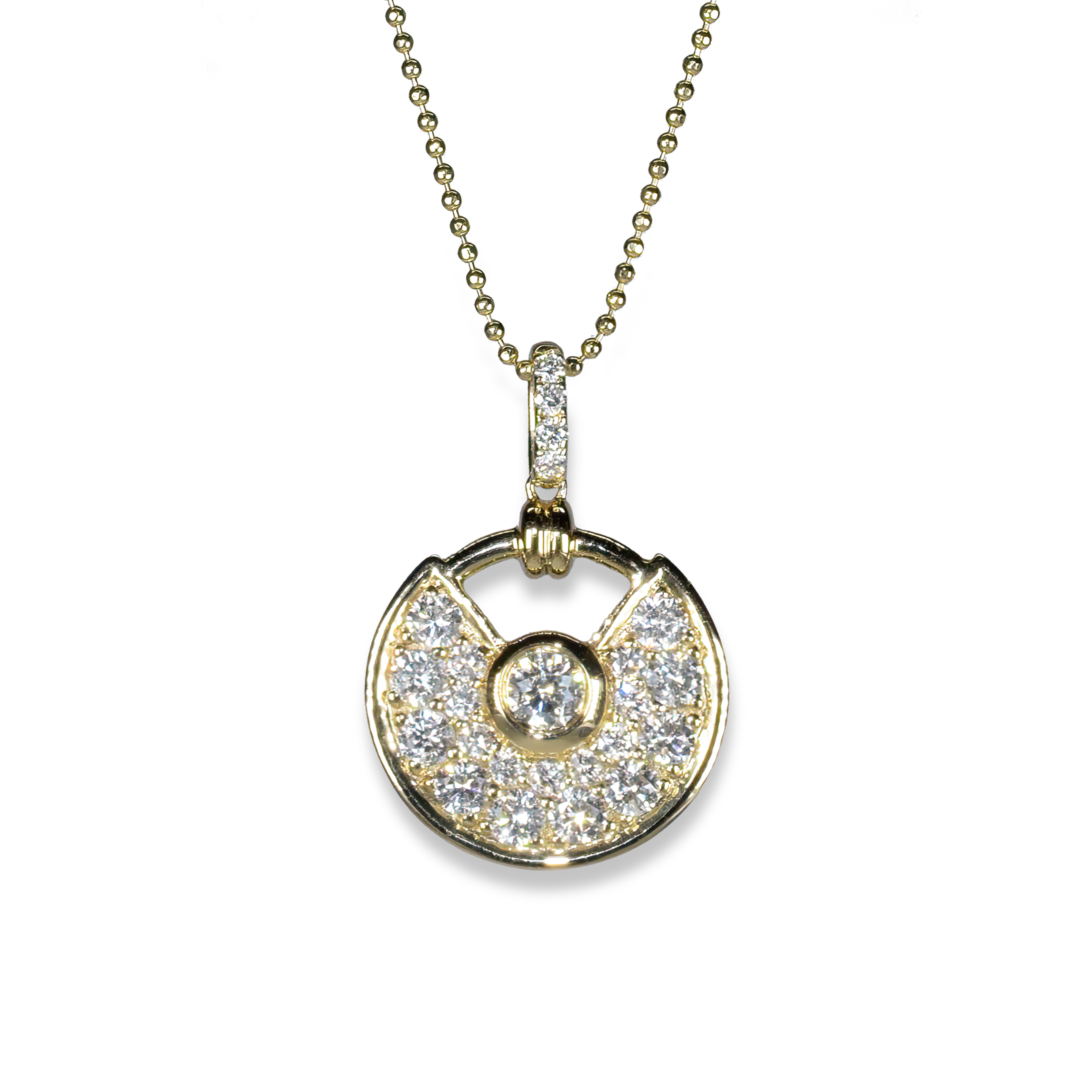 diamond and gold semi circle pendant 202