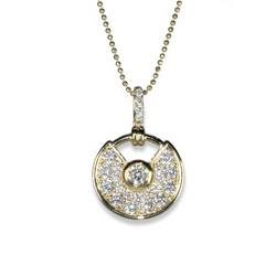 diamond and gold semi circle pendant 202