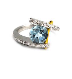 aqua designer ring