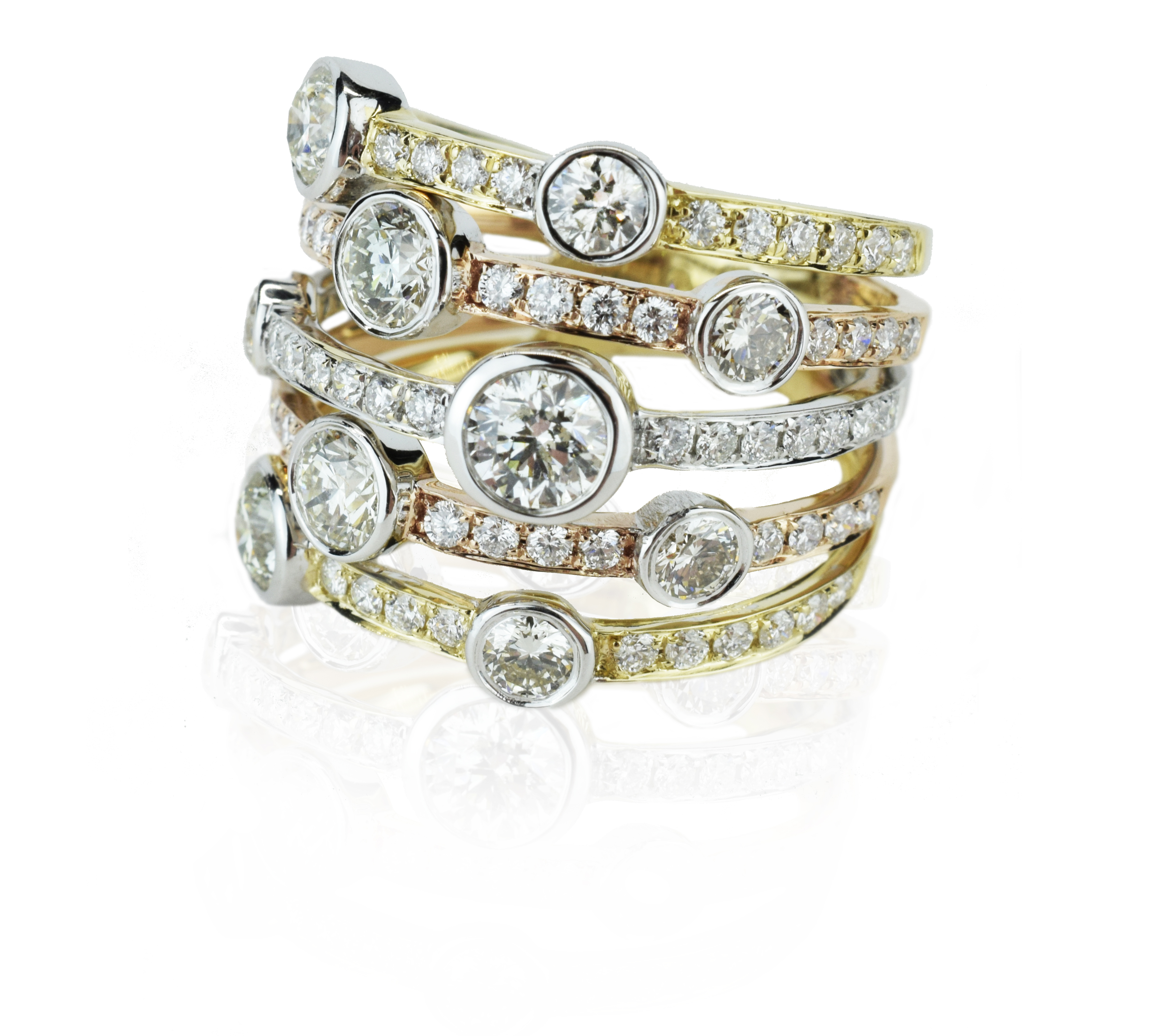 Tritone diamond stack ring