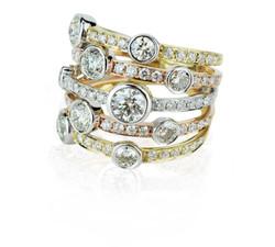 Tritone diamond stack ring