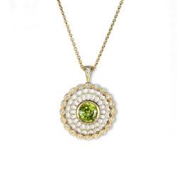 peridot and diamond necklace