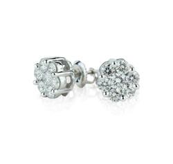 flower diamond cluster earrings