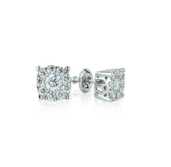 round diamond cluster earrings