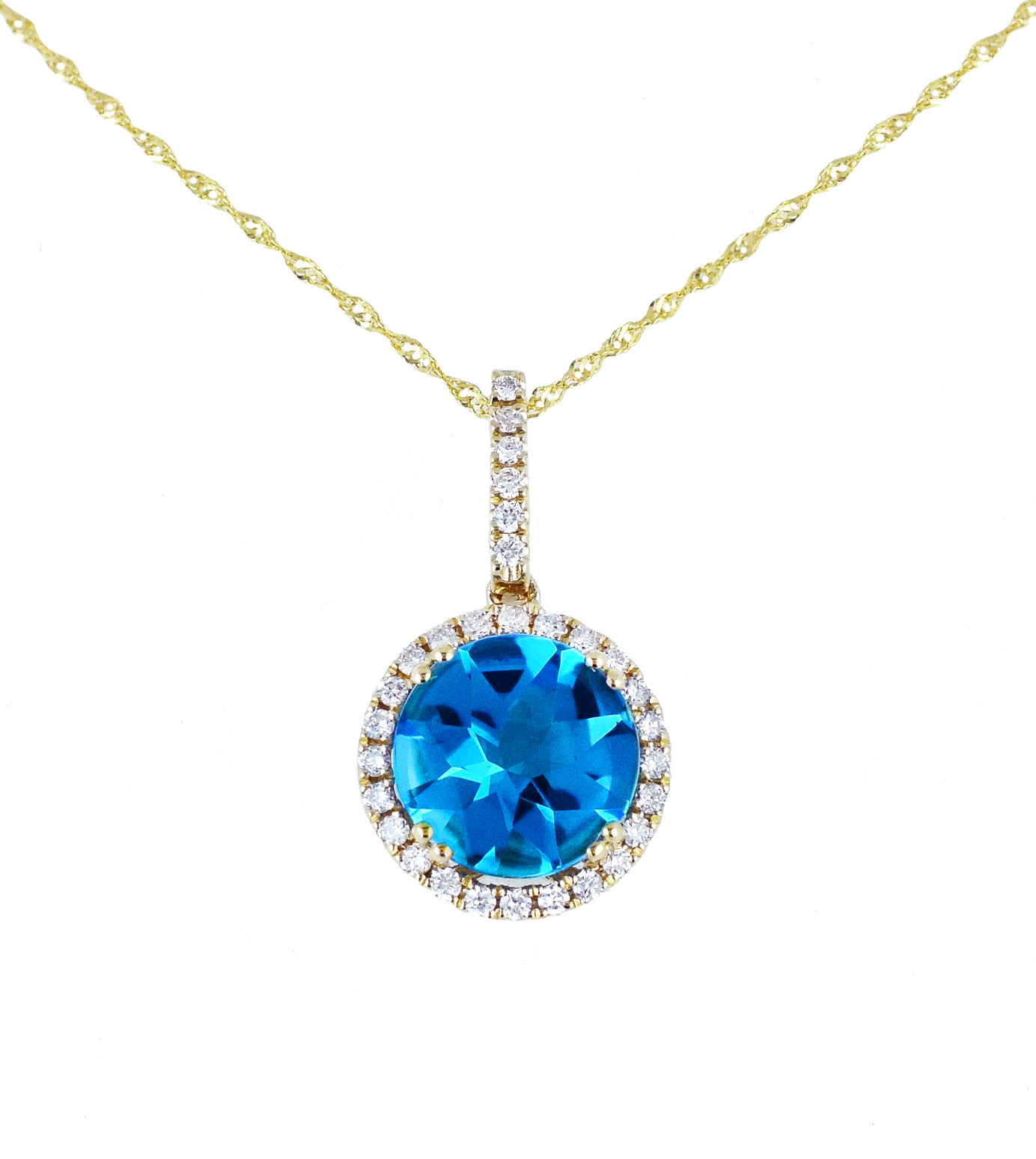 Blue gemstone diamond gold pendant