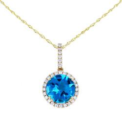 Blue gemstone diamond gold pendant