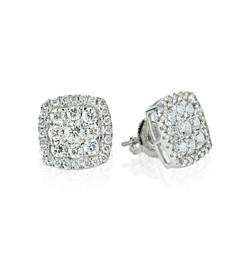 square diamond cluster earrings