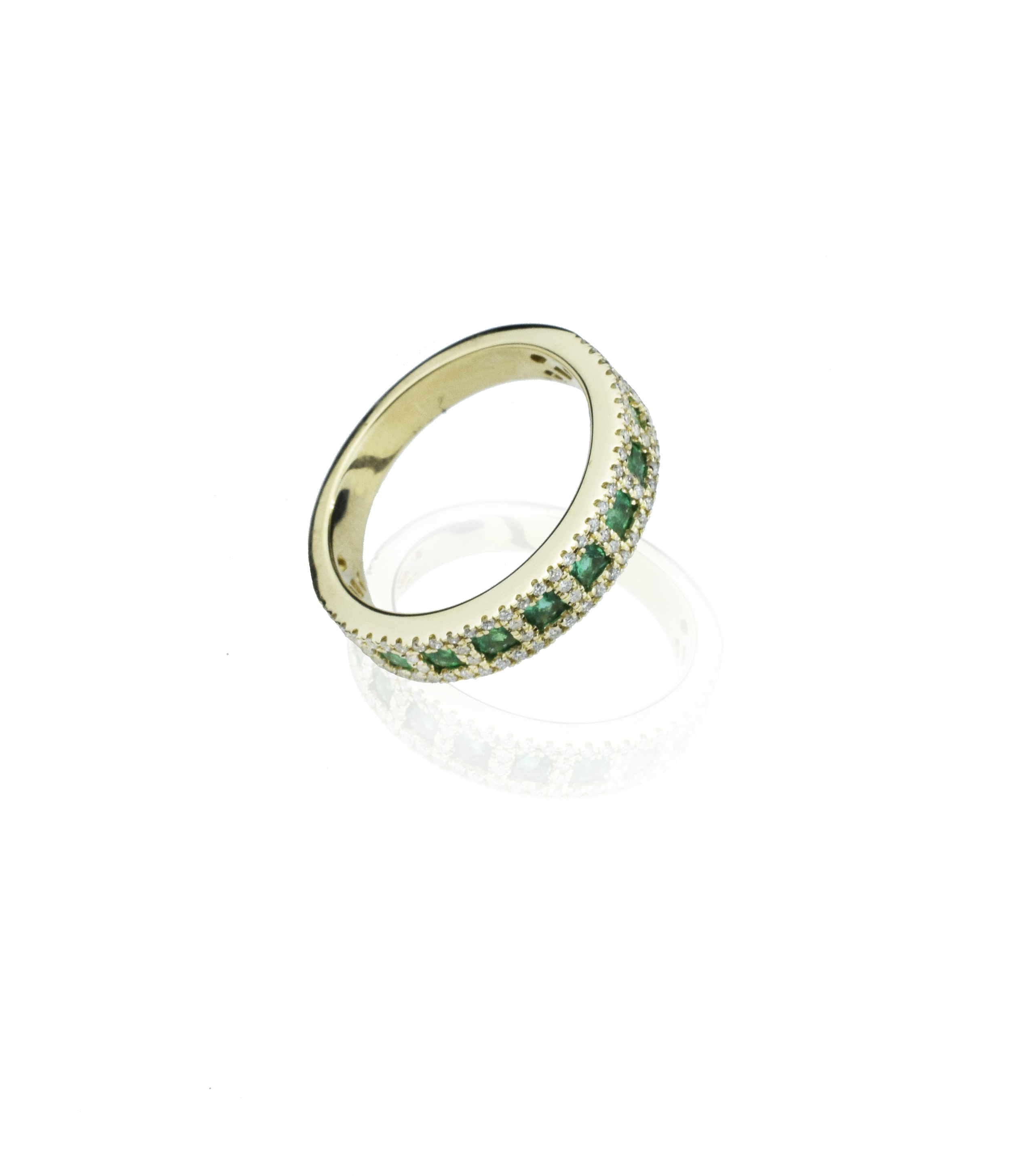 emerald and diamond eternity gold band