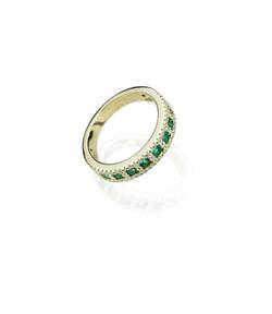 emerald and diamond eternity gold band
