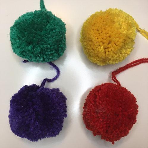 Set of 4 Knitted Pom Poms