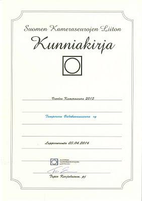 Vuoden 2015 kameraseura on Tampereen Valokuvausseura ry