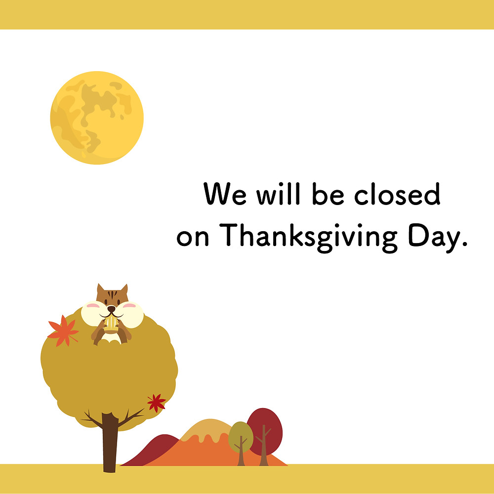 Will be closed on Thanksgiving Day