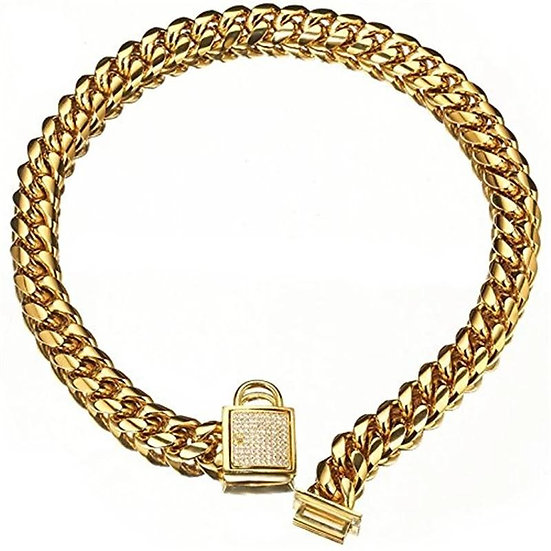 Cartel Crystal Padlock Chain Collar