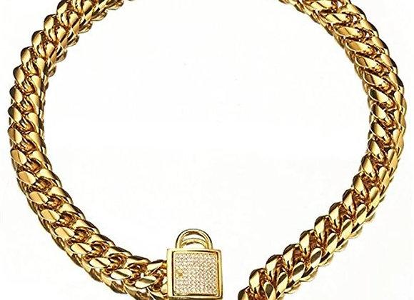 Cartel Crystal Padlock Chain Collar