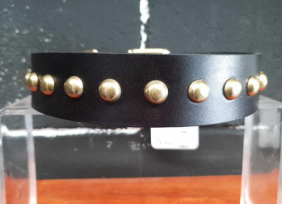 Black Leather Collar - Flat Stud