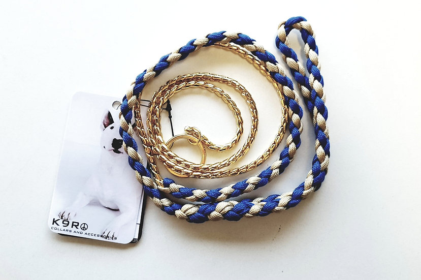 SHOW LEAD -Blue/Gold, Gold Chain