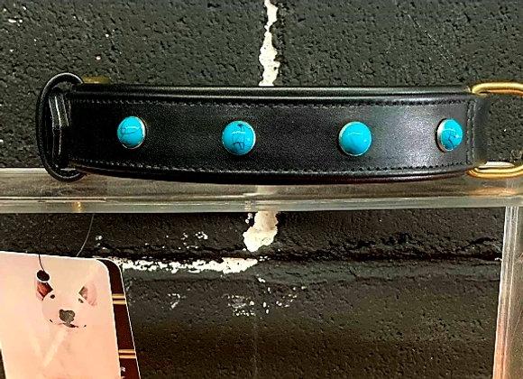 Blue Topaz Leather Collar