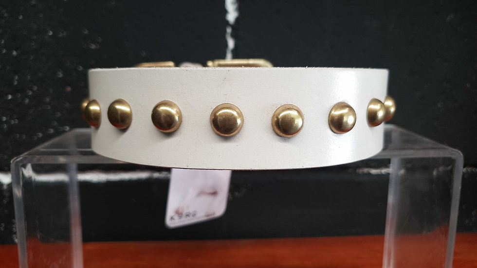 White Leather Collar - Flat Stud
