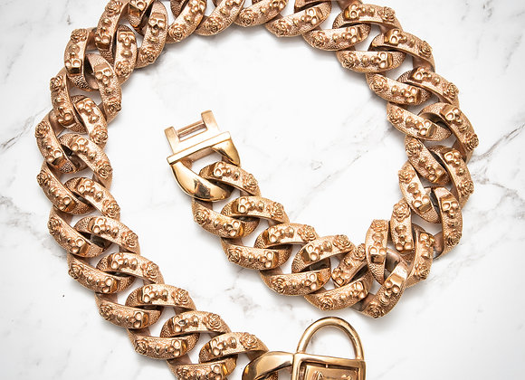 Skeleton Thick Chain-link Collar -Rose Gold