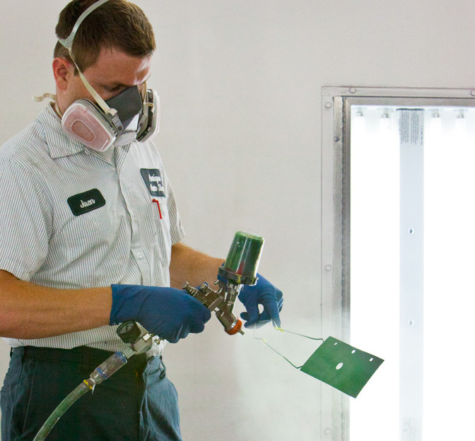 We have the most state of the art paint mixing room using Sherwin Williams Ultra  7000 paint products.