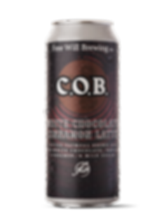 White Chocolate Cinnamon Latte C.O.B. - Coffee Oatmeal Brown Ale with White Chocolate, Vanilla, Cinnamon, and Milk Sugar