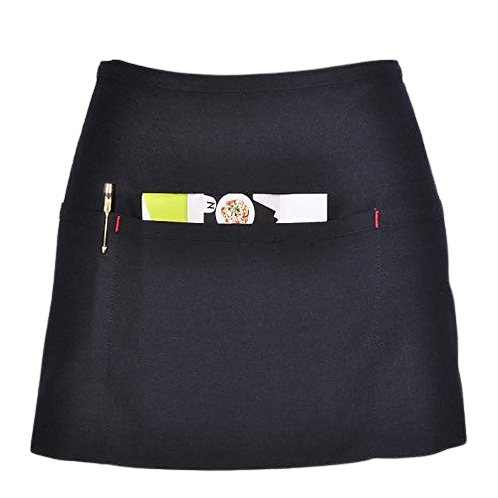 ATMOS GREEN 6 PACK 3 POCKET DENIM WAITRESS APRON (JET BLACK)