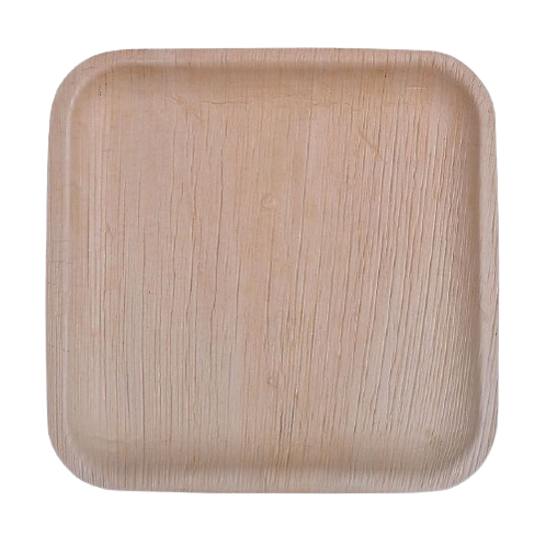 "PALM LEAF PLATES - 6"" FLAT SQUARE PLATE-100 PIECES-(ECO FRIENDLY/DISPOSABLE)"
