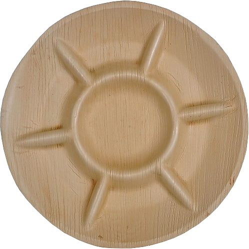 """GREEN ATMOS - 12"""" ROUND - 7 COMPARTMENT DISPOSABLE PALM LEAF PLATES - 100 PCS"""