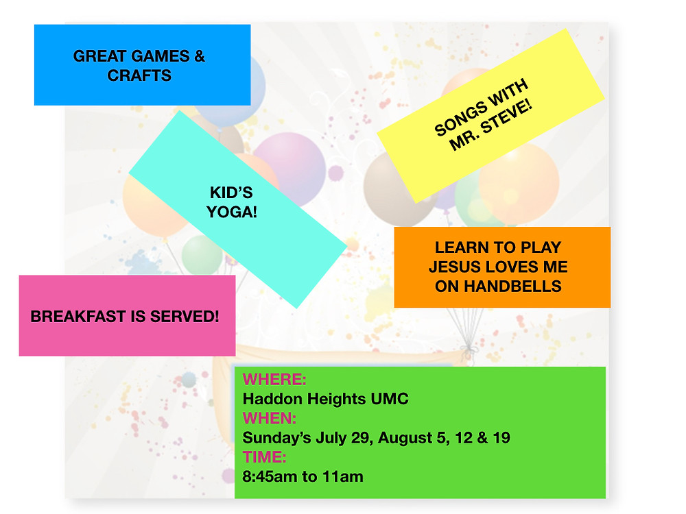 You will have a blast at the Make a Joyful Noise Sunday Summerama VBS!  If you have any questions, please call the church office at 547-3300. God Bless you and hope you can make it!!