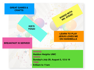 Make a Joyful Noise VBS on July 29th, August 5th, August 12th & August 19th!