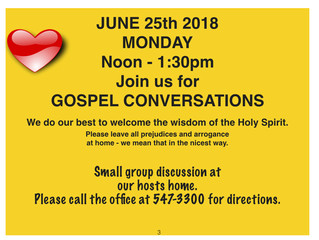 Gospel Conversations on June 25th, 2018