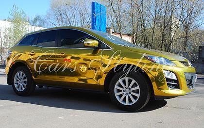 мазда, золотой хром, зеркальная пленка, обклейка пленкой, винил, зеркальная пленка на авто