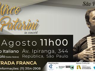 Circolo Italiano e Associazione Marchigiani in Brasile trazem acordeonista Mirco Patarini em apresen