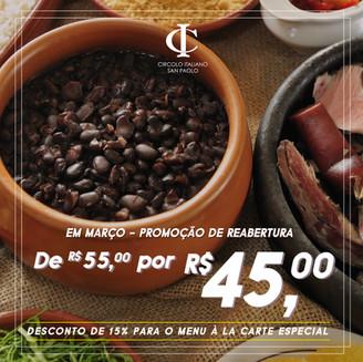 NOVIDADE: Circolo reabre restaurante aos sábados oferecendo FEIJOADA com SUPER PROMOÇÃO!