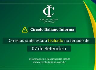 Atenção: Restaurante fechado no feriado de 07 de Setembro!