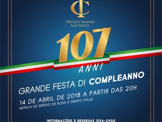 AUGURI, CIRCOLO! Grande Festa de Aniversário acontecerá em 14 de Abril!