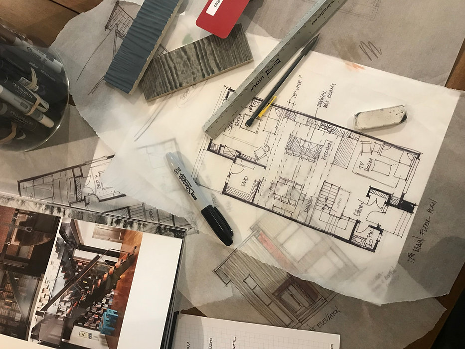 Floor plan designs, sketches, finishes