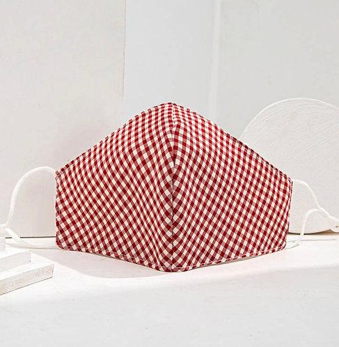 מסכת בד משובצת אדום-לבן
