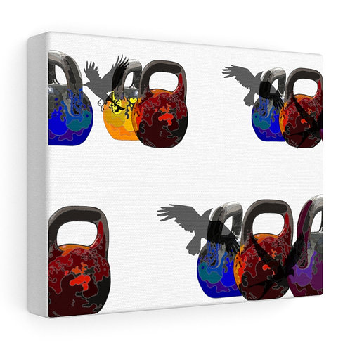 Kettlebells fly Stretched canvas